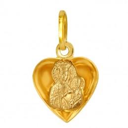 Pamiątka Komunii Zestaw złoty łańcuszek Singapur i medalik Serce z Matką Bożą 3D M