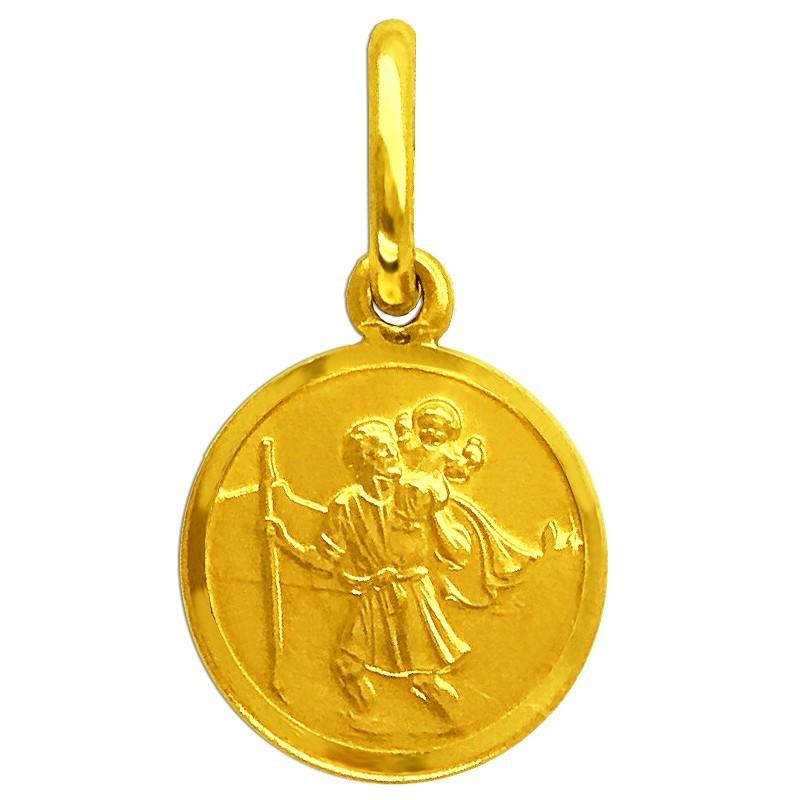 Złoty medalik  Św. Krzysztofa 1,25g Pamiątka pr585