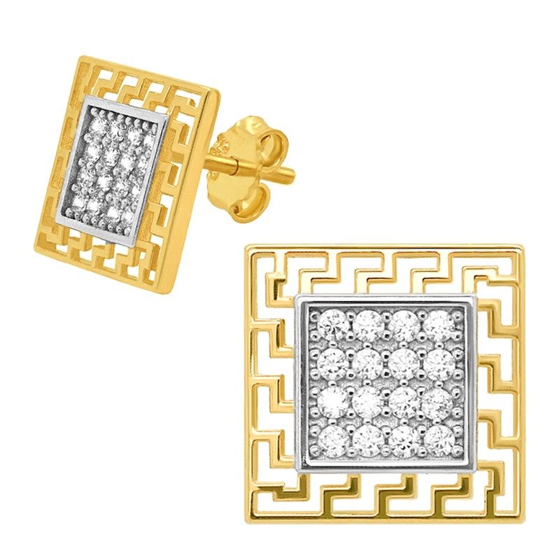 Złote Kolczyki Kwadraty z Greckim wzorem sztyft pr.585