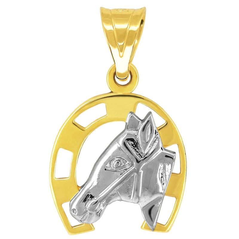 Przywieszka Podkowa głowa konia z białego złota pr585