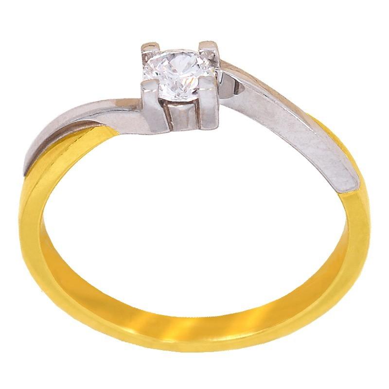 Złoty Pierścionek Zaręczynowy Forever z Białym złotem 585