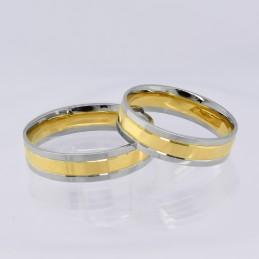 Złote Obrączki 2-kolor Soczewka Fasetowe Wcięcia 21 pr.585