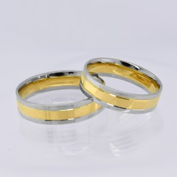 Złote Obrączki 2-kolor Soczewka Fasetowe Wcięcia 29 pr.585
