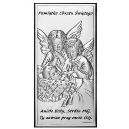 Obrazek Srebrny Chrzest Święty 7x14cm, Pamiątka