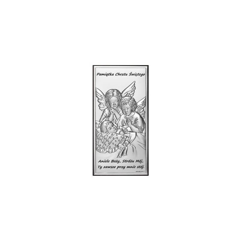 Obrazek Srebrny Chrzest Święty 7x14cm