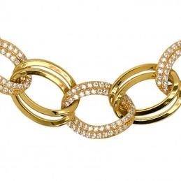 Złota bransoletka, owalne elementy z kamieniami