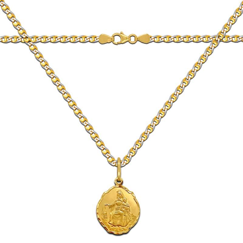 Pamiątka Chrztu św. Złoty łańcuszek i Szkaplerz, medalik MB z góry Karmel
