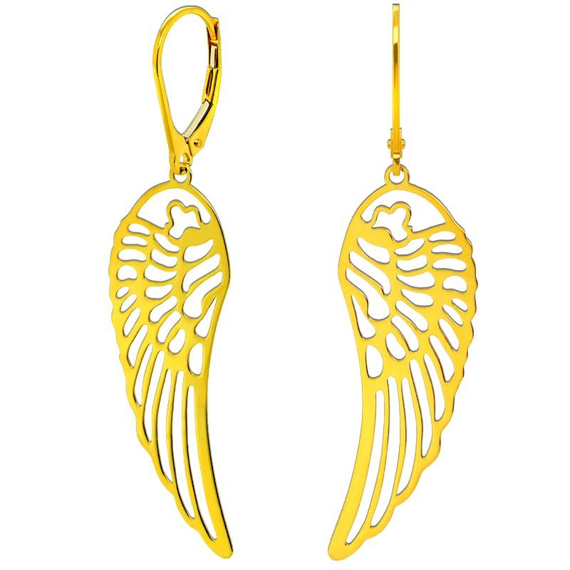 Złote kolczyki wiszące Skrzydła Anioła lekkie złoto próba 585