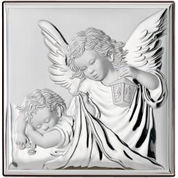 Obrazek srebrny Aniołek Chrzest Święty 8x8cm
