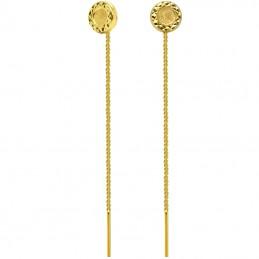 Złote kolczyki Koła Diamentowane Przeciągane pr.585