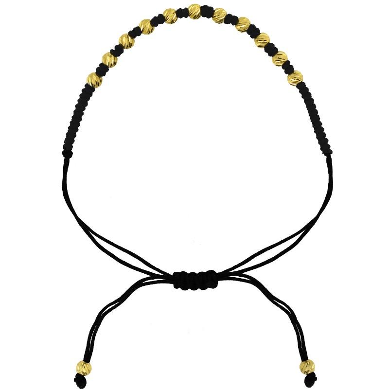 Złota bransoletka z Kuleczkami na bawełnianej lince pr. 585