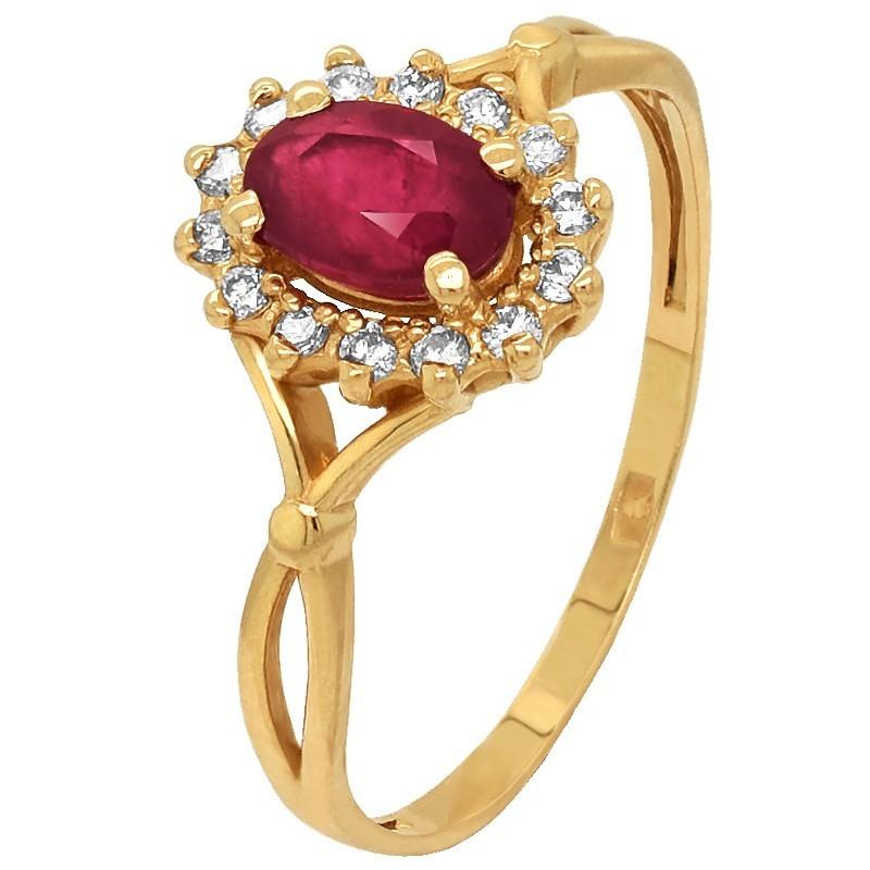 Złoty Pierścionek Zaręczynowy z Rubinem i Brylantami z żółtego złota w-182 złoto 585