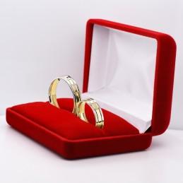 Złote Obrączki 2-kolor Soczewka Fasetowe Wcięcia 17 pr.585