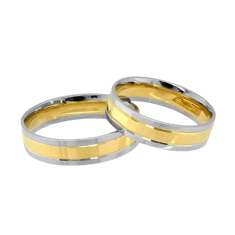 Złote Obrączki 2-kolor Soczewka Fasetowe Wcięcia 30 pr.585