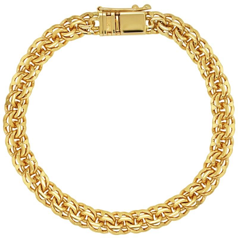 Złota bransoletka splot Bismark-Soczewka Garibaldi 25,9/21cm pr. 585