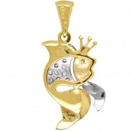 Przywieszka Złota Rybka z bajki z welonem z białego złota pr585