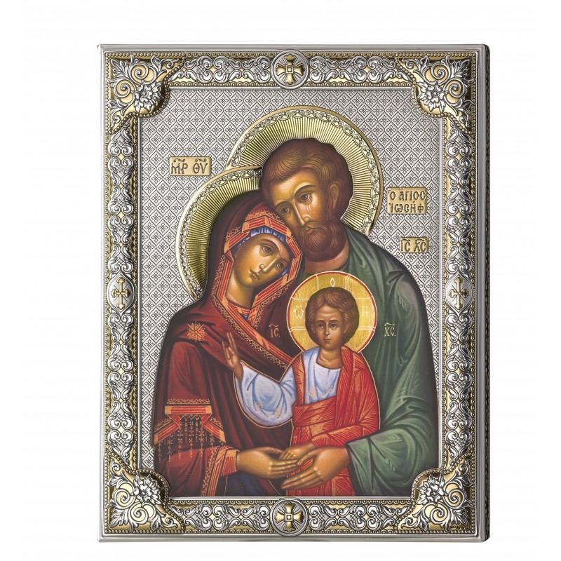 Ikona Srebrna Świętej Rodziny 12x16cm