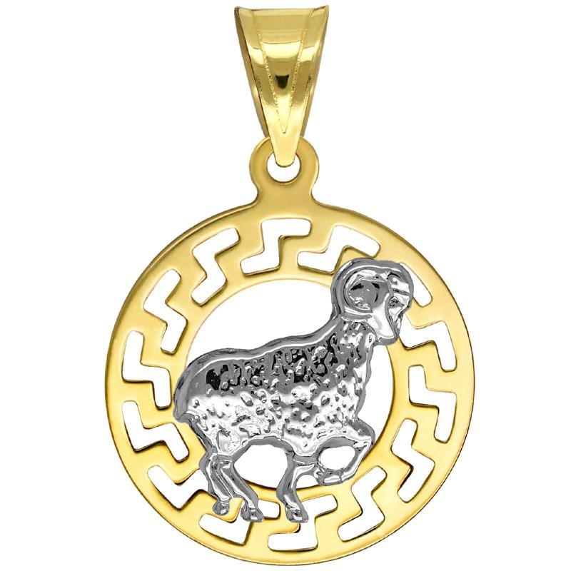 Baran znak zodiaku przywieszka pamiątka z białym złotem 585