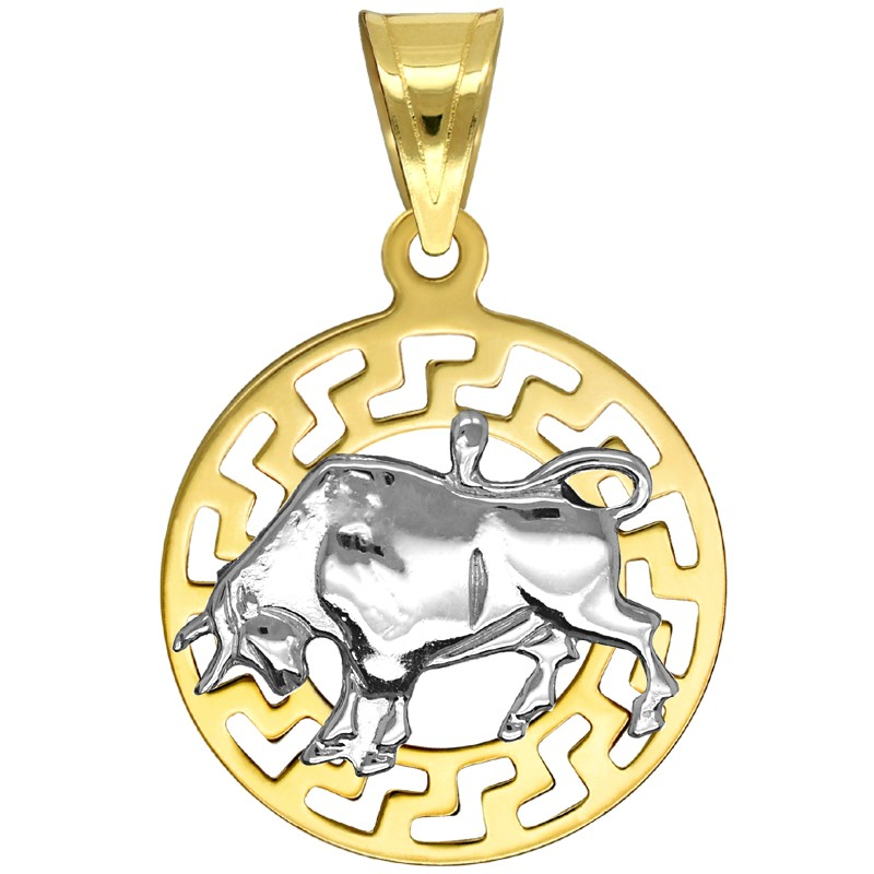 Byk znak zodiaku przywieszka pamiątka z białym złotem 585