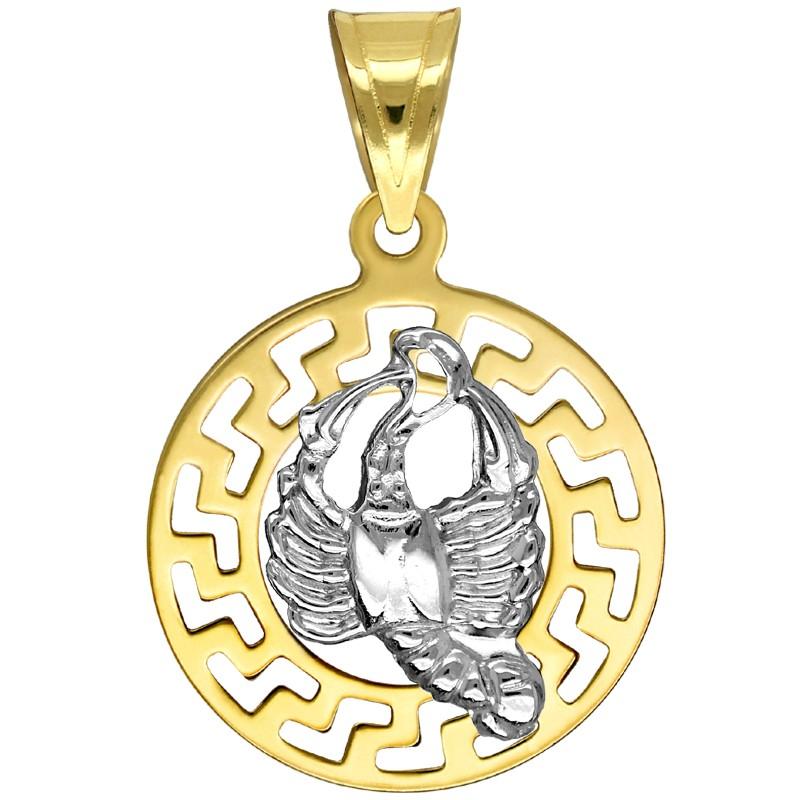 Rak znak zodiaku przywieszka pamiątka z białym złotem 585