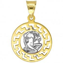 Panna znak zodiaku przywieszka pamiątka z białym złotem 585