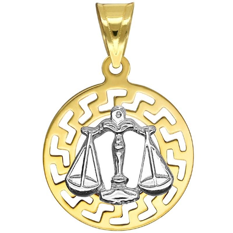 Waga znak zodiaku przywieszka pamiątka z białym złotem 585