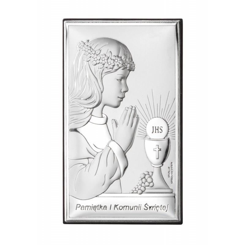 Obrazek na pamiątkę I Komunii Św. z dziewczynką, 9x13,5cm