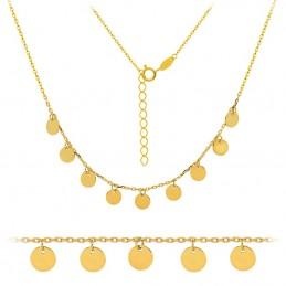 Złoty łańcuszek Celebrytka 9 monet pr. 585