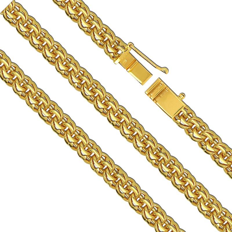 Złoty Naszyjnik splot Bismark-Soczewka Garibaldi 65/62cm pr. 585