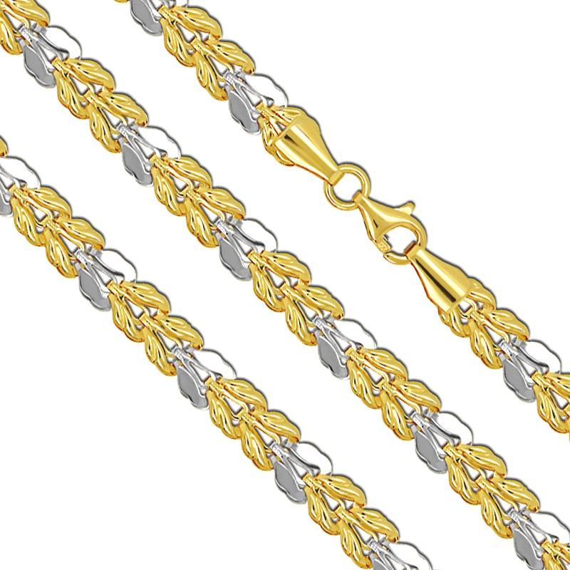 Listki Złoty Łańcuszek Naszyjnik z białym złotem 45/8,5 złoto 585