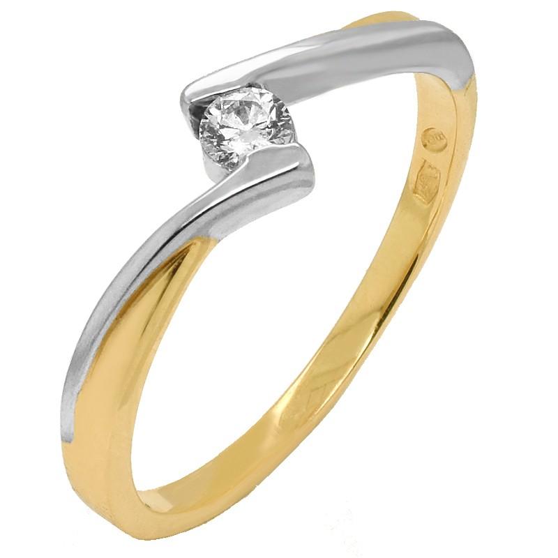 Złoty Pierścionek Zaręczynowy z Brylantem z Białym złotem w-180 złoto585