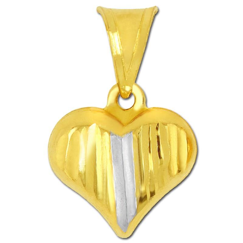 Złote serduszko grawerowane z białym S pr. 585