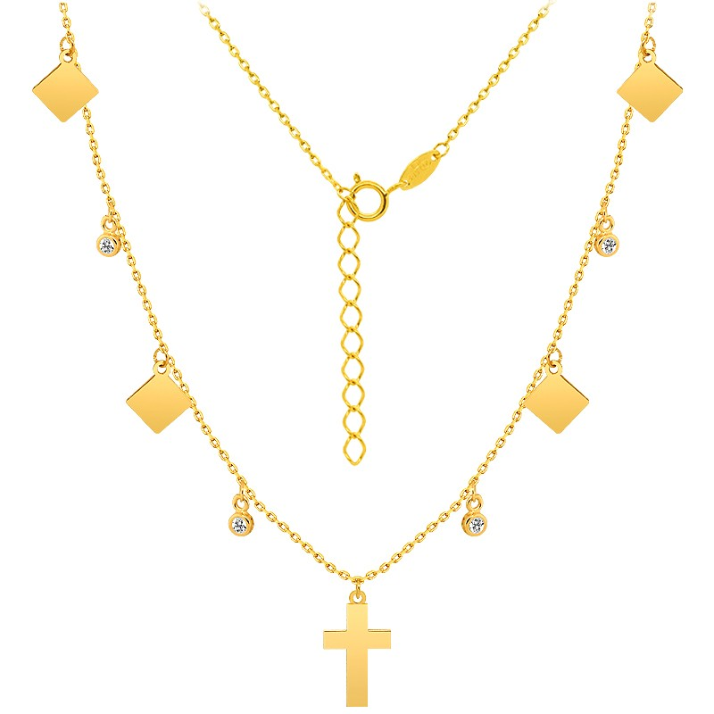 Złoty łańcuszek Celebrytka 9 elementów z krzyżykiem pr. 585