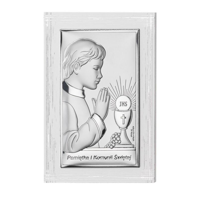 Obrazek na pamiątkę I Komunii Św. z chłopcem, 9x13,5cm