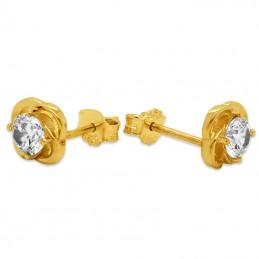Złote kolczyki Kwiat z cyrkonią sztyft pr.585