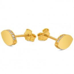 Złote kolczyki Owalne z Cyrkoniami sztyft pr.585