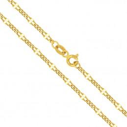 Złoty łańcuszek typu New Figaro z białym 4,43g złoto 585