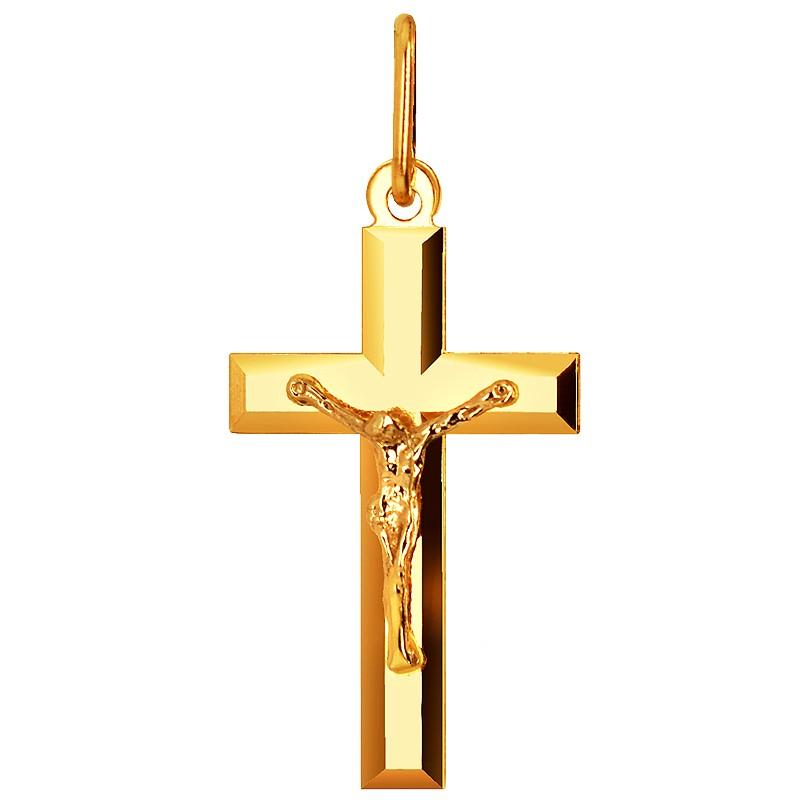 Złoty Krzyżyk Polerowany z figurką Jezusa Chrystusa pr. 585