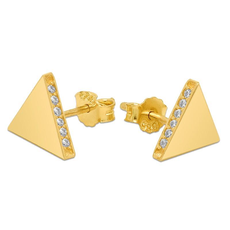 Złote Kolczyki Piramidki sztyft pr.585