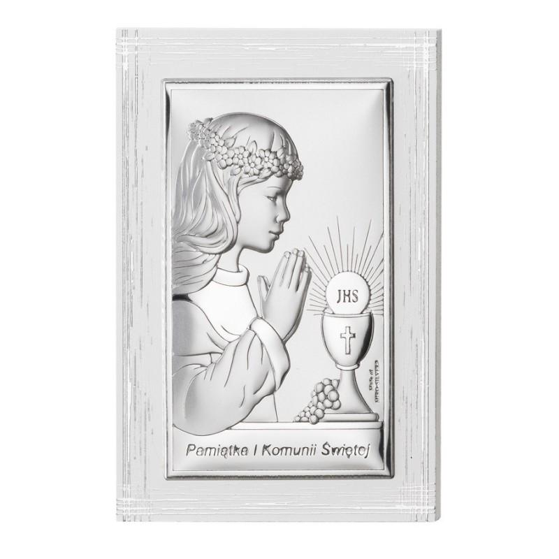 Obrazek Srebrny I Komunia Święta 9x13,5cm