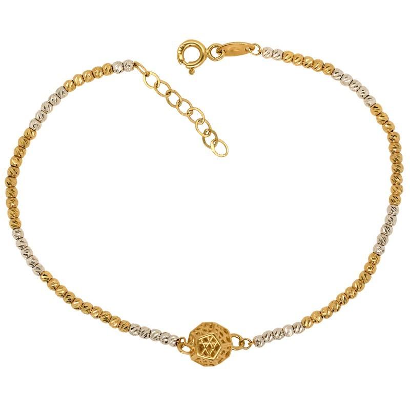 Złota bransoletka z kulką ozdobną