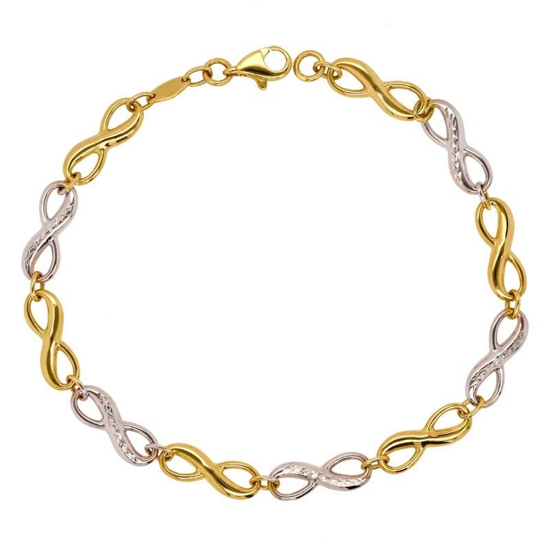 Złota bransoletka ze znakami nieskończoności