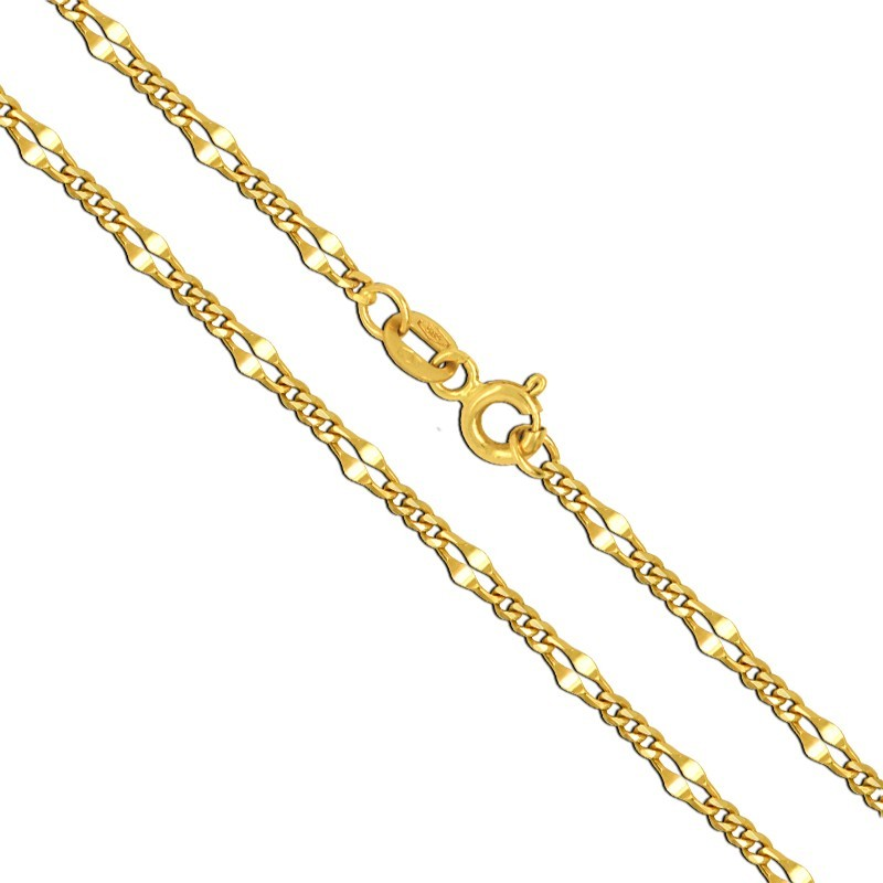 Złoty łańcuszek typu New Figaro z białym 1,76g złoto 585
