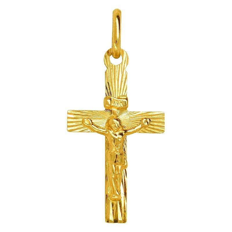 Krzyżyk katolicki grawerowany złoto 585