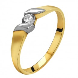 Złoty Pierścionek Zaręczynowy z Białym złotem 585