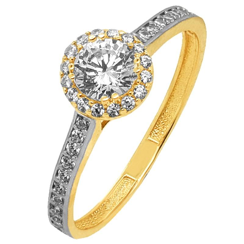 Złoty Pierścionek zaręczynowy z białym złotem złoto 585