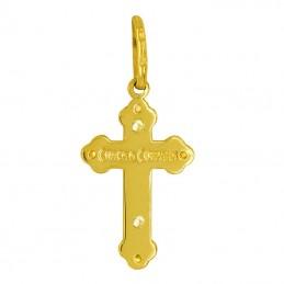 Krzyżyk prawosławny z cyrkoniami z białym złotem 585