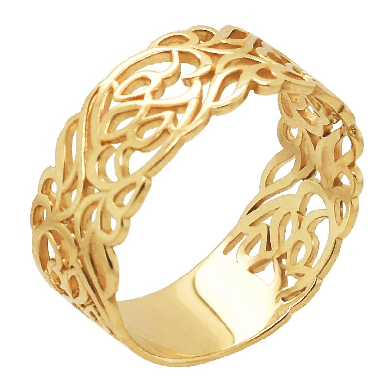 Złoty Pierścionek Szeroki wzór kwiatowy obrączkowy złoto 585