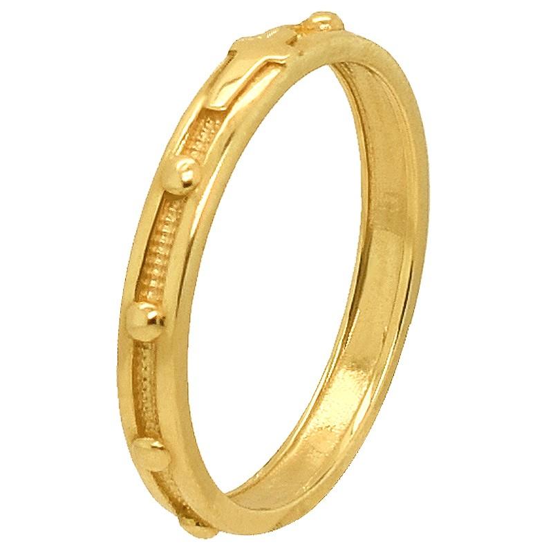 Złoty pierścionek różaniec wąski  złoto 585